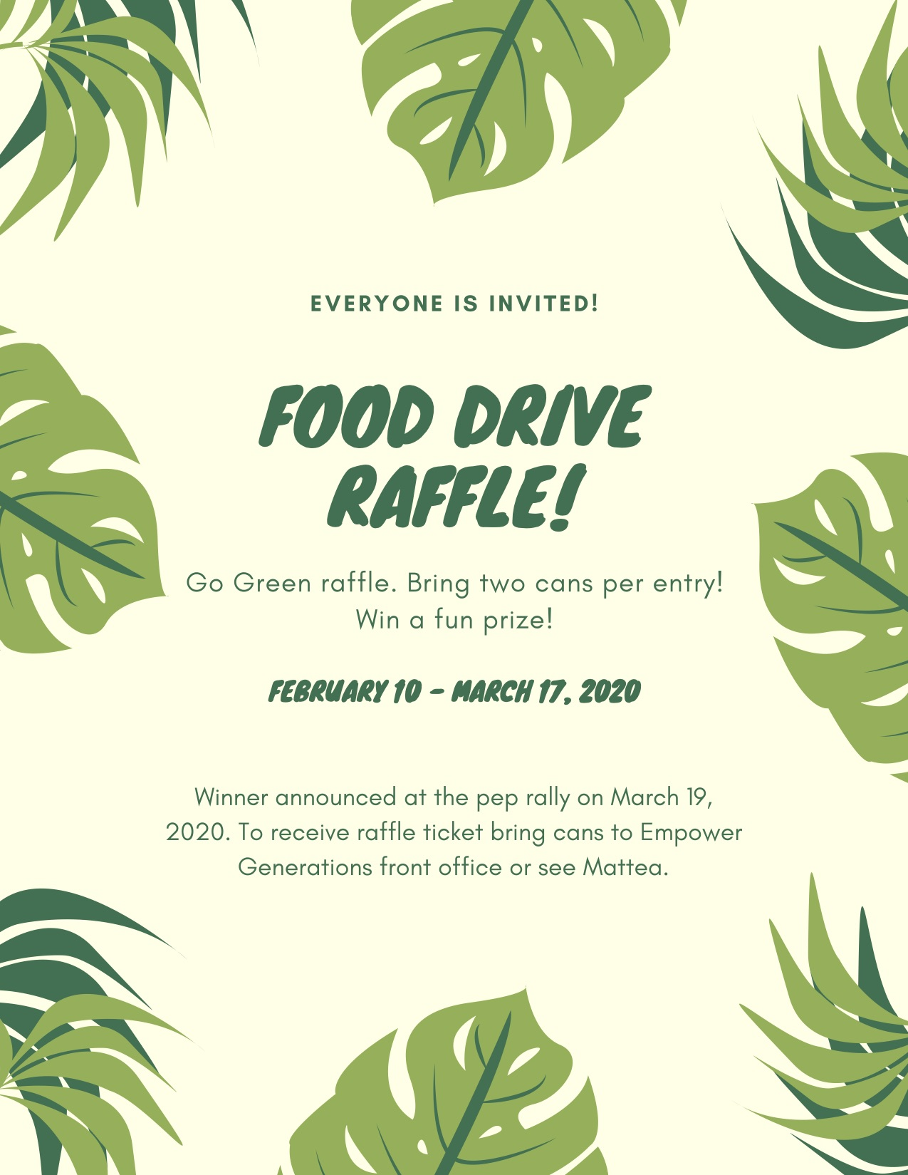 Empower Generations Food Drive Raffle
