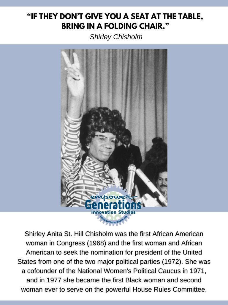 Shirley Anita St. Hill Chisholm was the first African American woman in Congress (1968) and the first woman and African American to seek the nomination for president of the United States from one of the two major political parties (1972). She was a cofounder of the National Women's Political Caucus in 1971, and in 1977 she became the first Black woman and second woman ever to serve on the powerful House Rules Committee.