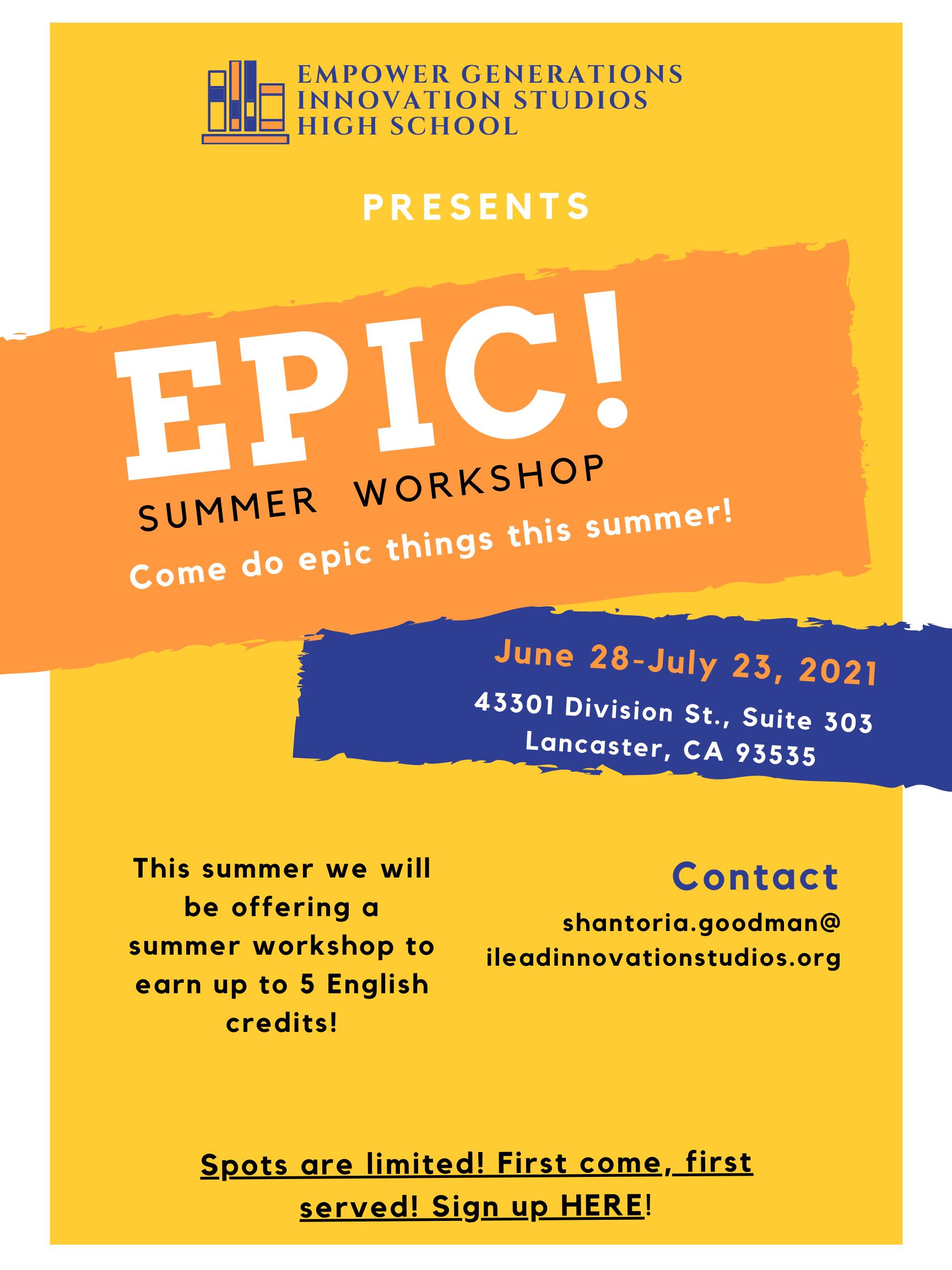 Empower Generations summer enrichment flyer